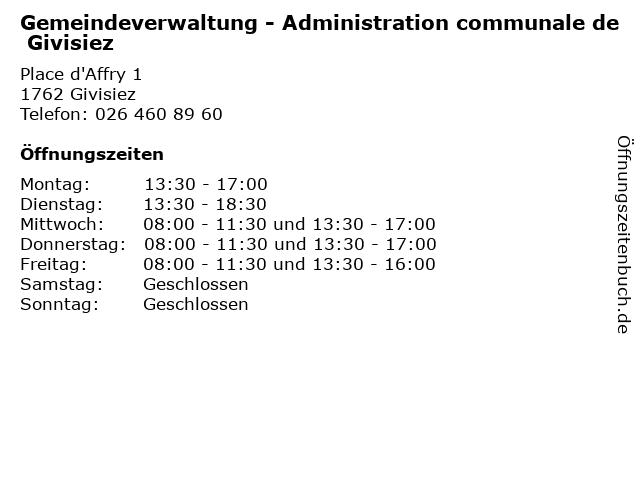 Gemeindeverwaltung - Administration communale de Givisiez in Givisiez: Adresse und Öffnungszeiten