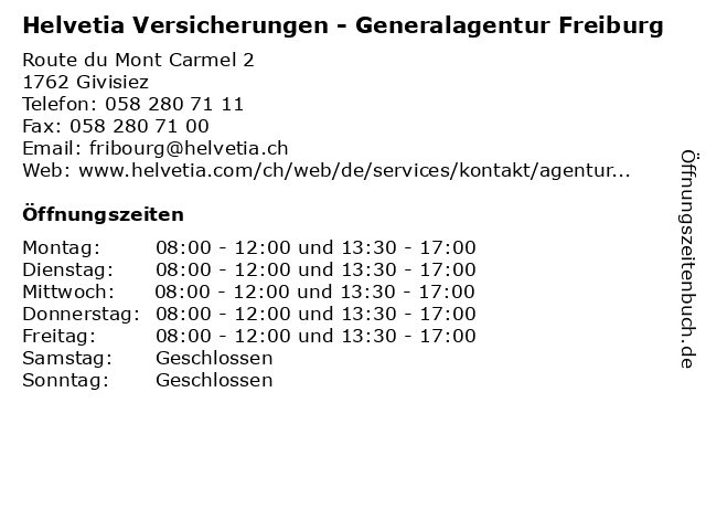 Helvetia Versicherungen - Generalagentur Freiburg in Givisiez: Adresse und Öffnungszeiten