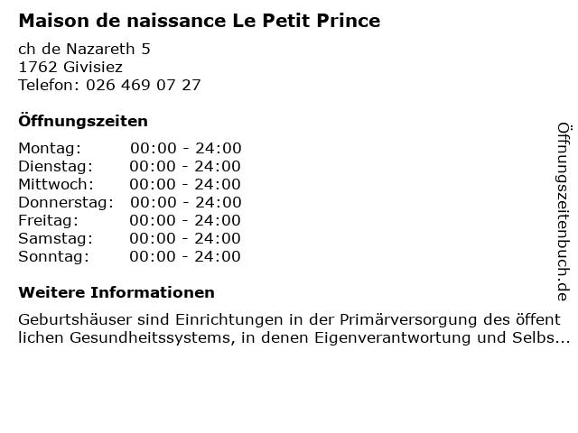 Maison de naissance Le Petit Prince in Givisiez: Adresse und Öffnungszeiten