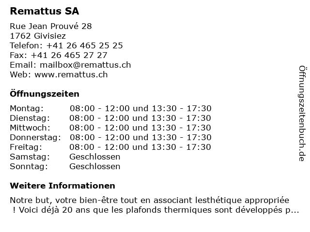 Remattus SA in Givisiez: Adresse und Öffnungszeiten