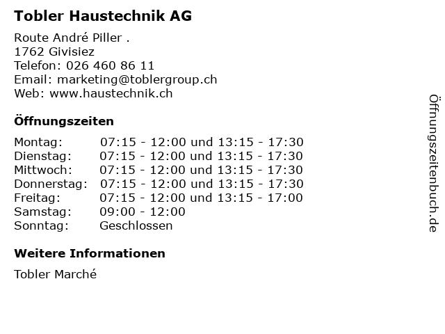 Tobler Haustechnik AG in Givisiez: Adresse und Öffnungszeiten