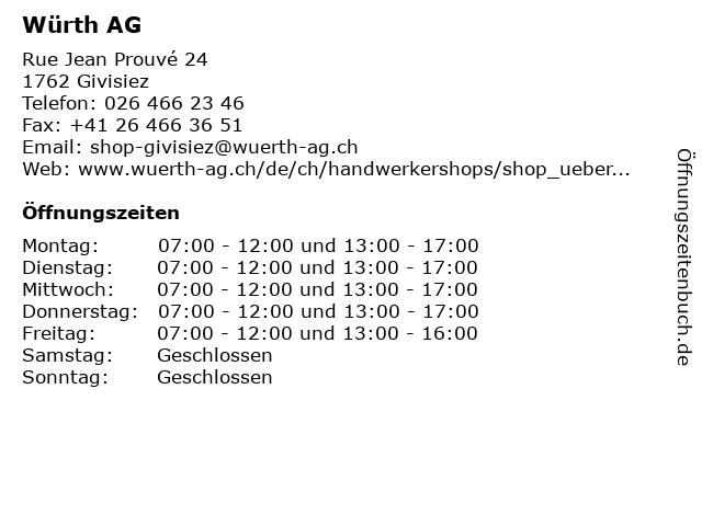 Würth AG in Givisiez: Adresse und Öffnungszeiten