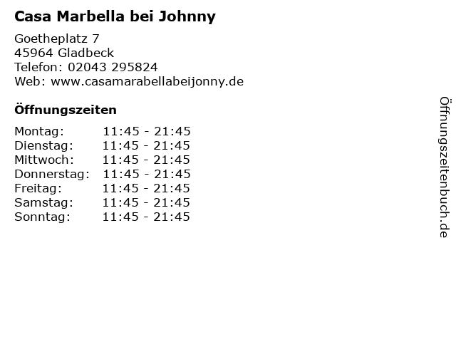 Casa Marbella bei Johnny in Gladbeck: Adresse und Öffnungszeiten