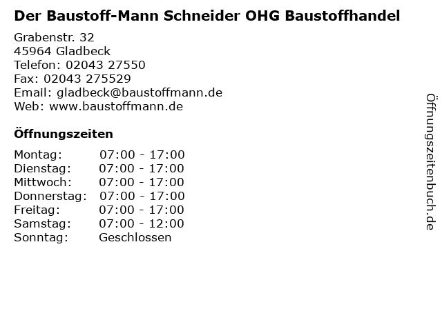 Der Baustoff-Mann Schneider OHG Baustoffhandel in Gladbeck: Adresse und Öffnungszeiten