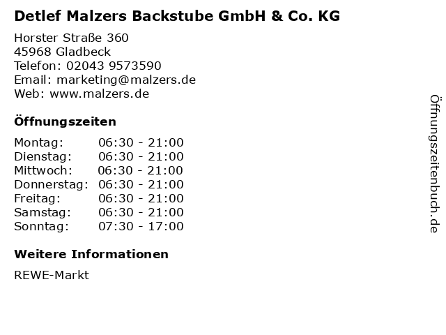 Detlef Malzers Backstube GmbH & Co. KG in Gladbeck: Adresse und Öffnungszeiten