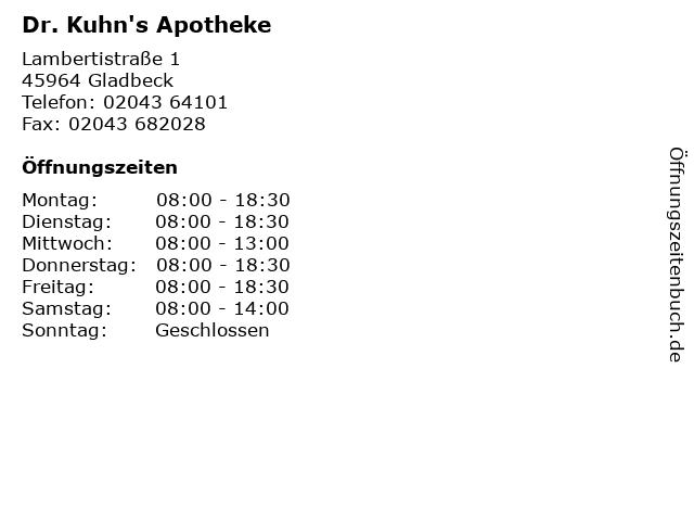 Dr. Kuhn's Apotheke in Gladbeck: Adresse und Öffnungszeiten