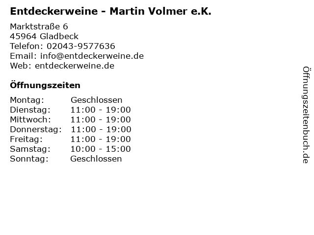 Entdeckerweine - Martin Volmer e.K. in Gladbeck: Adresse und Öffnungszeiten
