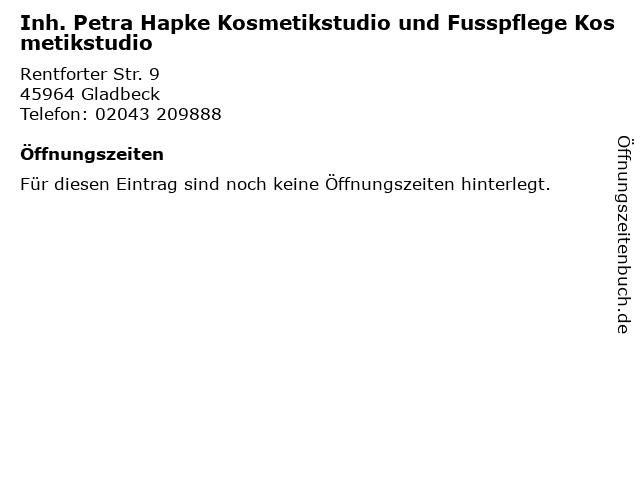 Inh. Petra Hapke Kosmetikstudio und Fusspflege Kosmetikstudio in Gladbeck: Adresse und Öffnungszeiten