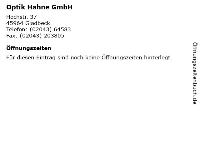 Optik Hahne GmbH in Gladbeck: Adresse und Öffnungszeiten