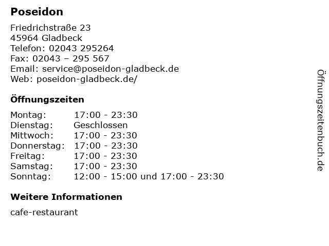 Poseidon in Gladbeck: Adresse und Öffnungszeiten