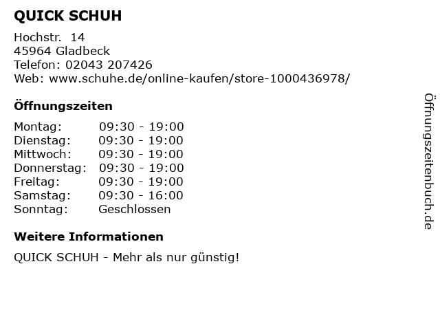 QUICK SCHUH in Gladbeck: Adresse und Öffnungszeiten