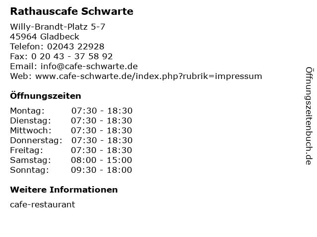 Rathauscafe Schwarte in Gladbeck: Adresse und Öffnungszeiten