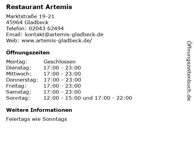 Restaurant Artemis in Gladbeck: Adresse und Öffnungszeiten
