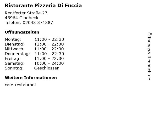 Ristorante Pizzeria Di Fuccia in Gladbeck: Adresse und Öffnungszeiten
