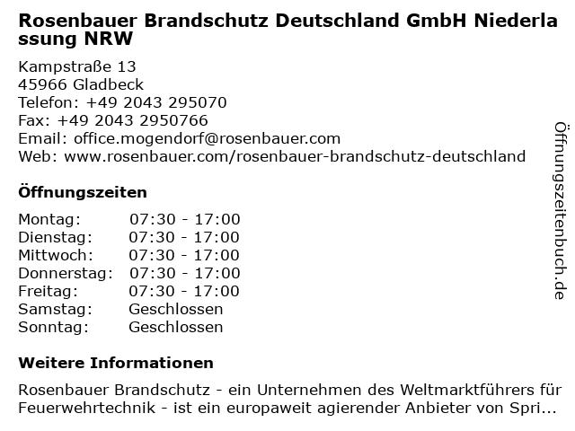 Rosenbauer Brandschutz Deutschland GmbH Niederlassung NRW in Gladbeck: Adresse und Öffnungszeiten