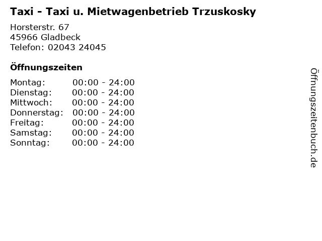 Taxi - Taxi u. Mietwagenbetrieb Trzuskosky in Gladbeck: Adresse und Öffnungszeiten
