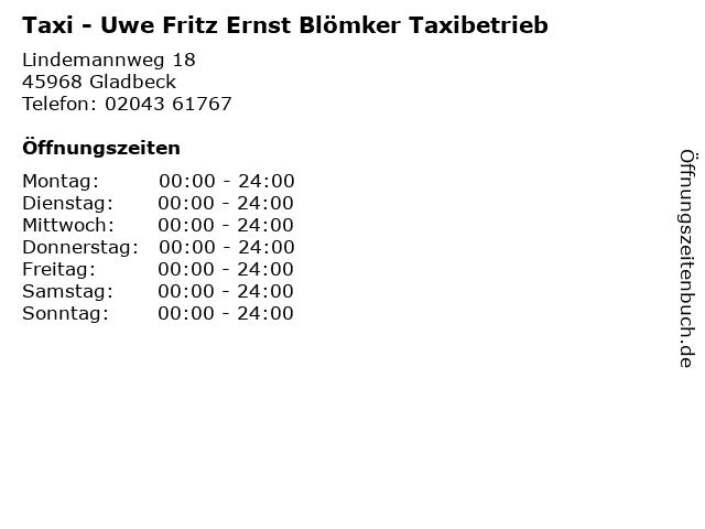 Taxi - Uwe Fritz Ernst Blömker Taxibetrieb in Gladbeck: Adresse und Öffnungszeiten
