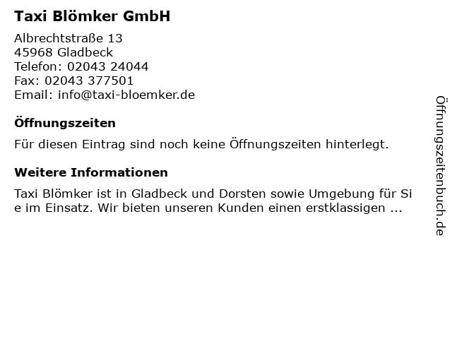 Taxi Blömker GmbH in Gladbeck: Adresse und Öffnungszeiten