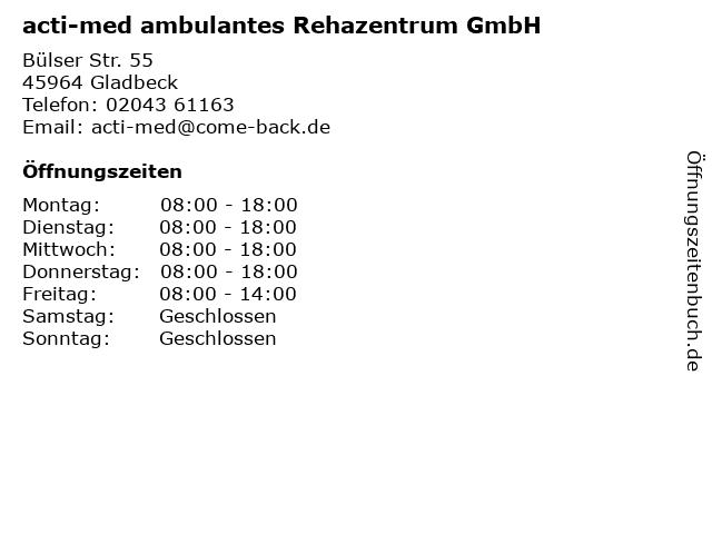 acti-med ambulantes Rehazentrum GmbH in Gladbeck: Adresse und Öffnungszeiten