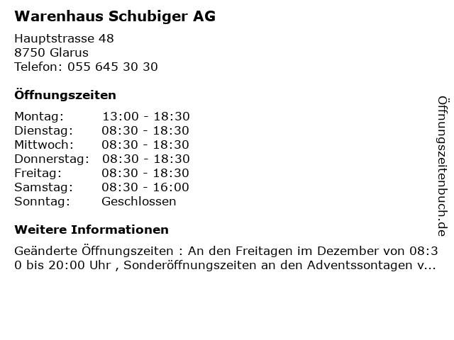 Warenhaus Schubiger AG in Glarus: Adresse und Öffnungszeiten