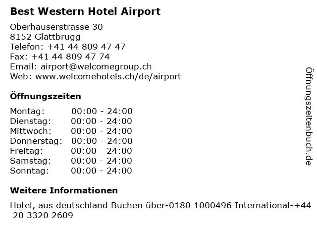 Best Western Hotel Airport in Glattbrugg: Adresse und Öffnungszeiten