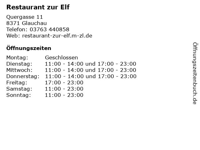 Restaurant zur Elf in Glauchau: Adresse und Öffnungszeiten