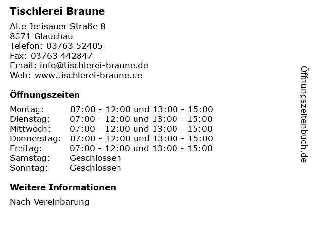 Tischlerei Braune in Glauchau: Adresse und Öffnungszeiten