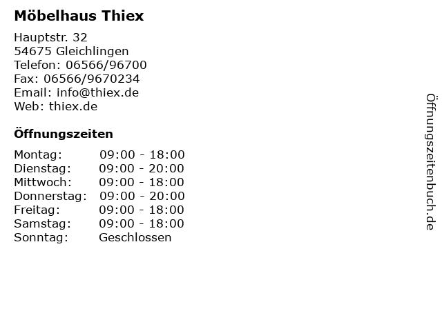 ᐅ öffnungszeiten Möbelhaus Thiex Hauptstr 32 In Gleichlingen
