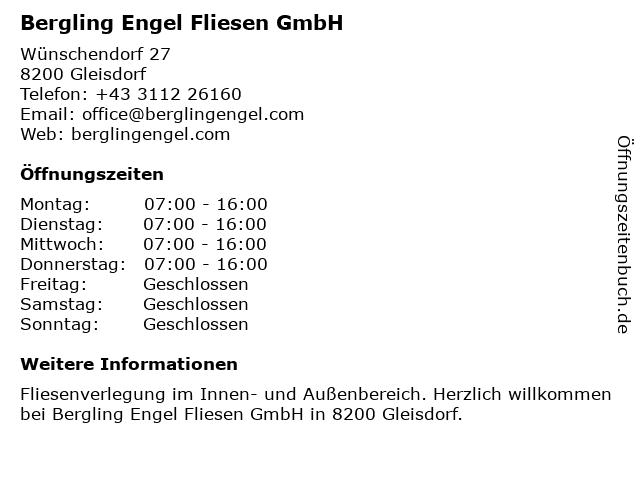 Bergling Engel Fliesen GmbH in Gleisdorf: Adresse und Öffnungszeiten
