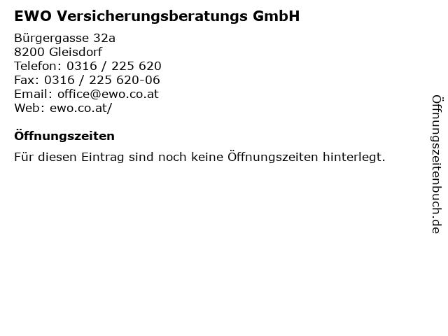 EWO Versicherungsberatungs GmbH in Gleisdorf: Adresse und Öffnungszeiten