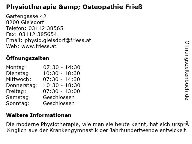 Frieß Physiotherapie GmbH in Gleisdorf: Adresse und Öffnungszeiten