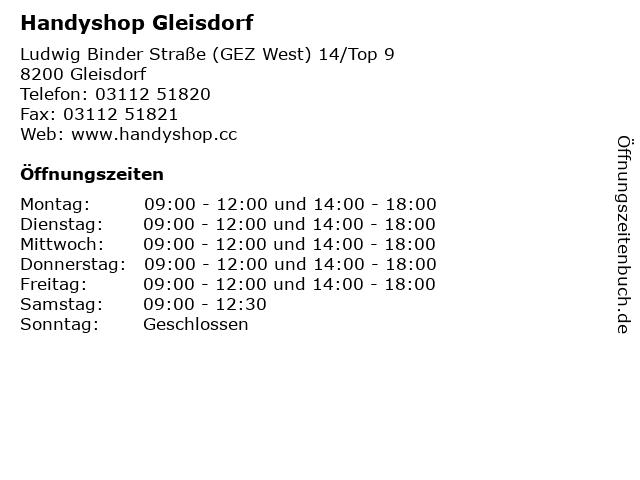 Handyshop Gleisdorf in Gleisdorf: Adresse und Öffnungszeiten