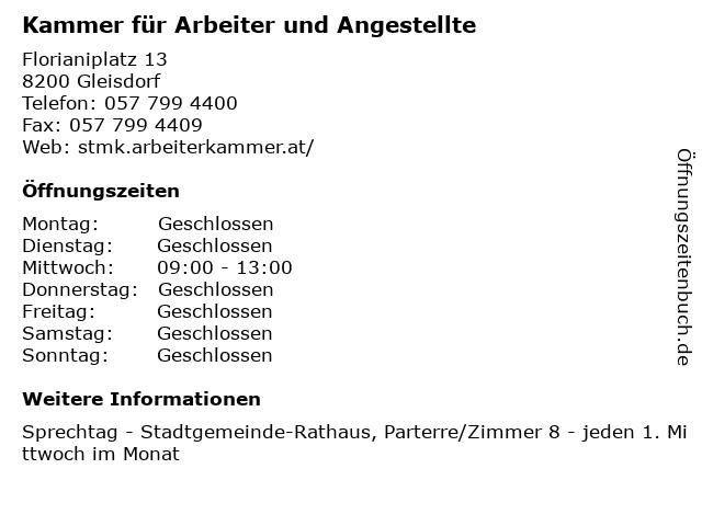 Kammer für Arbeiter und Angestellte in Gleisdorf: Adresse und Öffnungszeiten