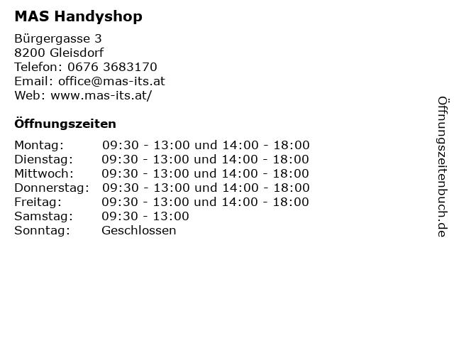 MAS Handyshop in Gleisdorf: Adresse und Öffnungszeiten