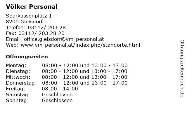 Völker Personal in Gleisdorf: Adresse und Öffnungszeiten