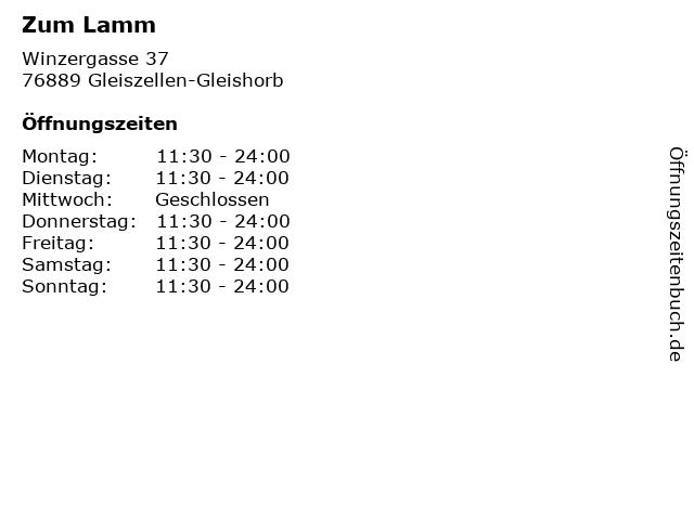 Zum Lamm in Gleiszellen-Gleishorb: Adresse und Öffnungszeiten