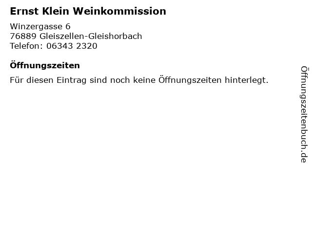 Ernst Klein Weinkommission in Gleiszellen-Gleishorbach: Adresse und Öffnungszeiten