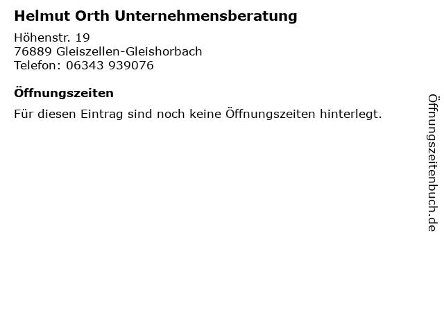 Helmut Orth Unternehmensberatung in Gleiszellen-Gleishorbach: Adresse und Öffnungszeiten