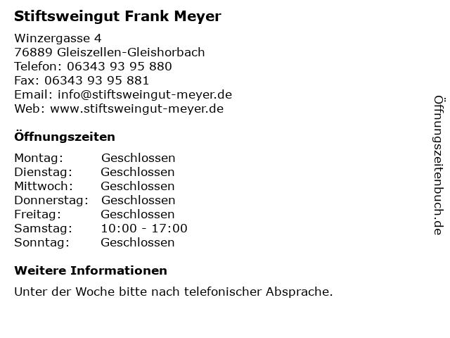 Stiftsweingut Frank Meyer in Gleiszellen-Gleishorbach: Adresse und Öffnungszeiten