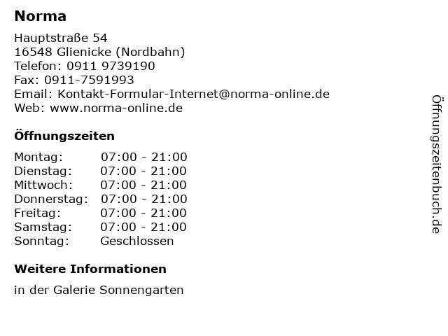 Norma Lebensmittelfilialbetrieb Stiftung & Co. KG in Glienicke (Nordbahn): Adresse und Öffnungszeiten