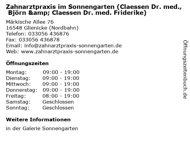 Zahnarztpraxis im Sonnengarten (Claessen Dr. med., Björn & Claessen Dr. med. Friderike) in Glienicke (Nordbahn): Adresse und Öffnungszeiten