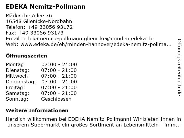EDEKA Nemitz-Pollmann in Glienicke/Nordbahn: Adresse und Öffnungszeiten