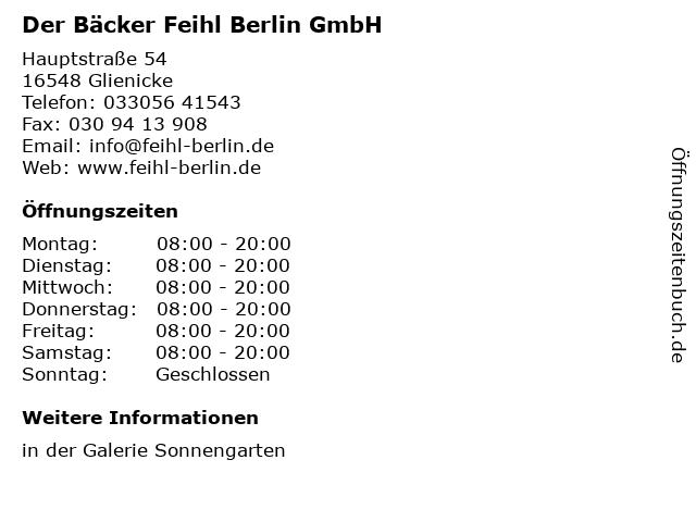 Der Bäcker Feihl Berlin GmbH in Glienicke: Adresse und Öffnungszeiten