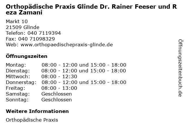 Orthopädische Praxis Glinde Dr. Rainer Feeser und Reza Zamani in Glinde: Adresse und Öffnungszeiten