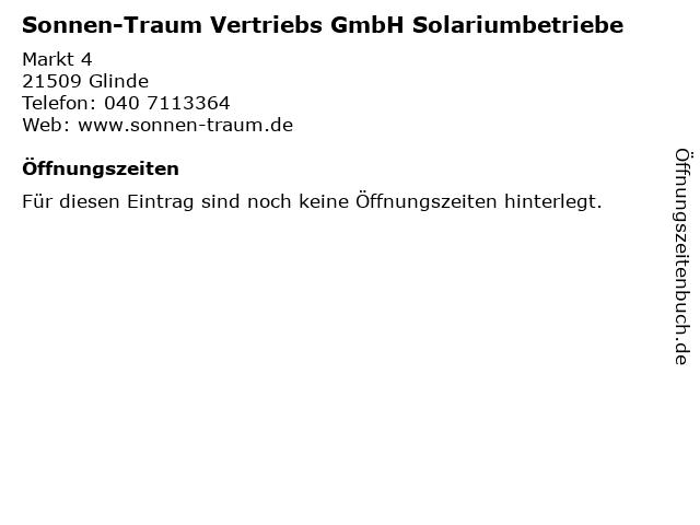 Sonnen-Traum Vertriebs GmbH Solariumbetriebe in Glinde: Adresse und Öffnungszeiten