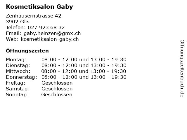 Kosmetiksalon Gaby in Glis: Adresse und Öffnungszeiten