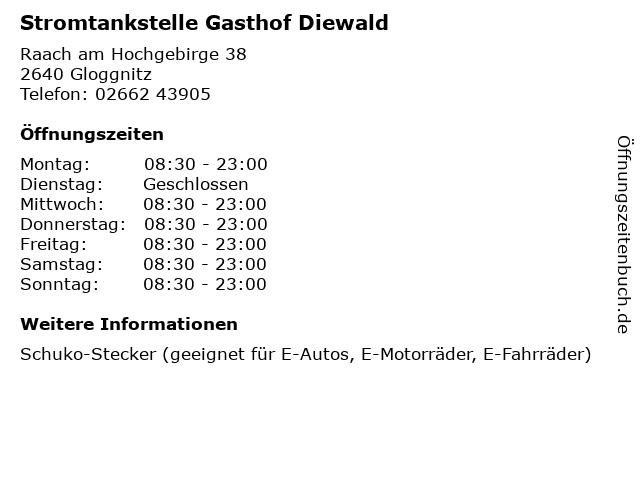 Stromtankstelle Gasthof Diewald in Gloggnitz: Adresse und Öffnungszeiten