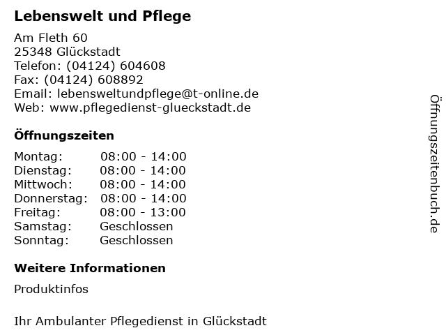 Lebenswelt und Pflege in Glückstadt: Adresse und Öffnungszeiten