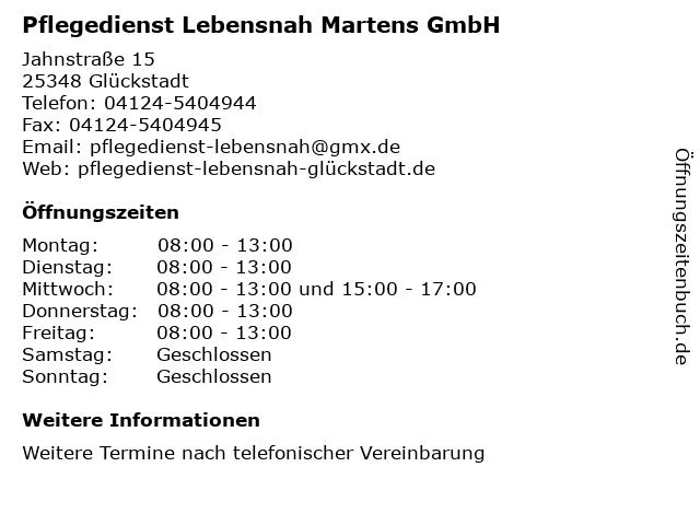 Pflegedienst Lebensnah Martens GmbH in Glückstadt: Adresse und Öffnungszeiten
