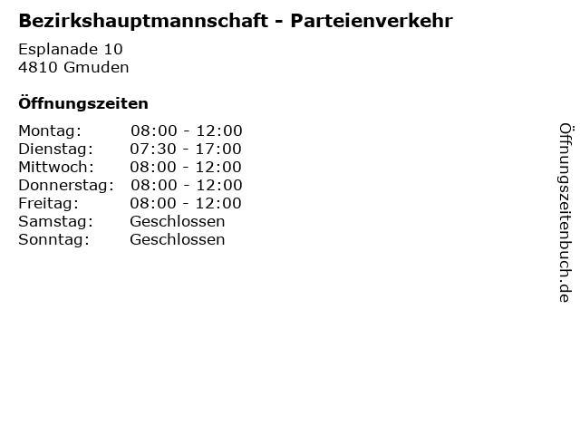 Bezirkshauptmannschaft - Parteienverkehr in Gmuden: Adresse und Öffnungszeiten
